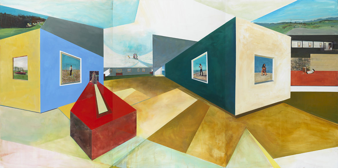 """""""Hopper Origami,"""" by William Wegman. 2014 Oil and postcards on wood panel."""
