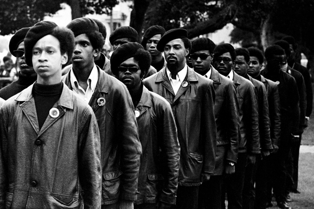 Panthers on parade at Free Huey rally in Defermery Park (named by the Panther Bobby Hutton Park) in West Oakland, July 28, 1968.