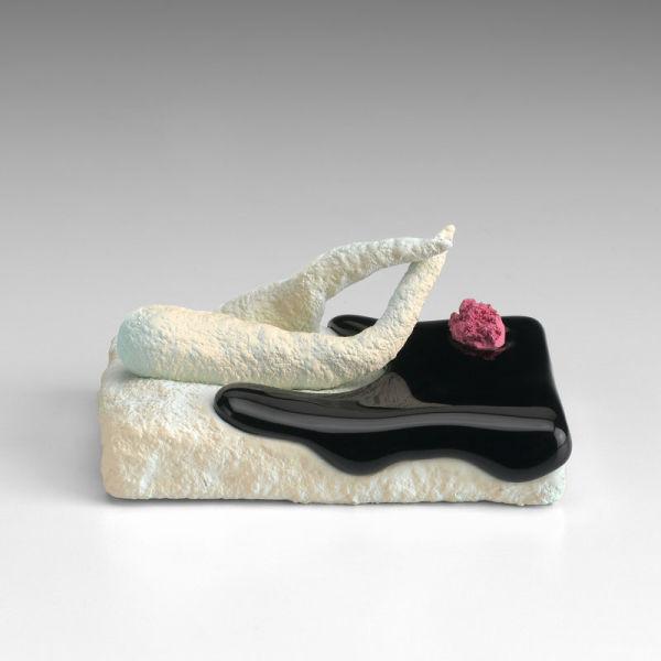 Ron Nagle, <em>Boston Scrambler,</em> 2015. Ceramic, glaze, catalyzed polyurethane, epoxy resin. 2 x 4 1/2 x 3 inches; 5 x 11 x 8 cm. CopyrightRon Nagle.