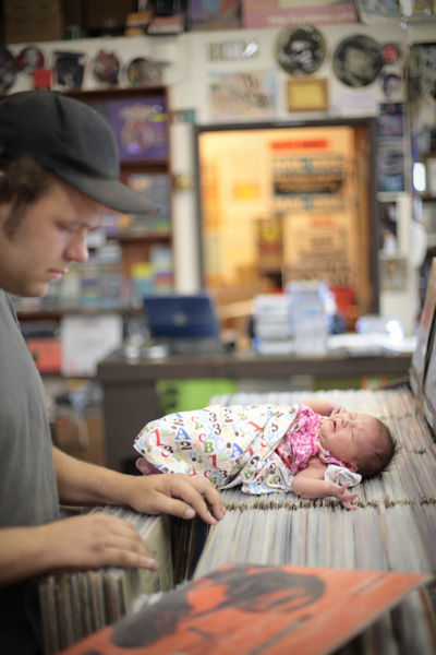 It's best to introduce your child to record shopping at an early age, right?