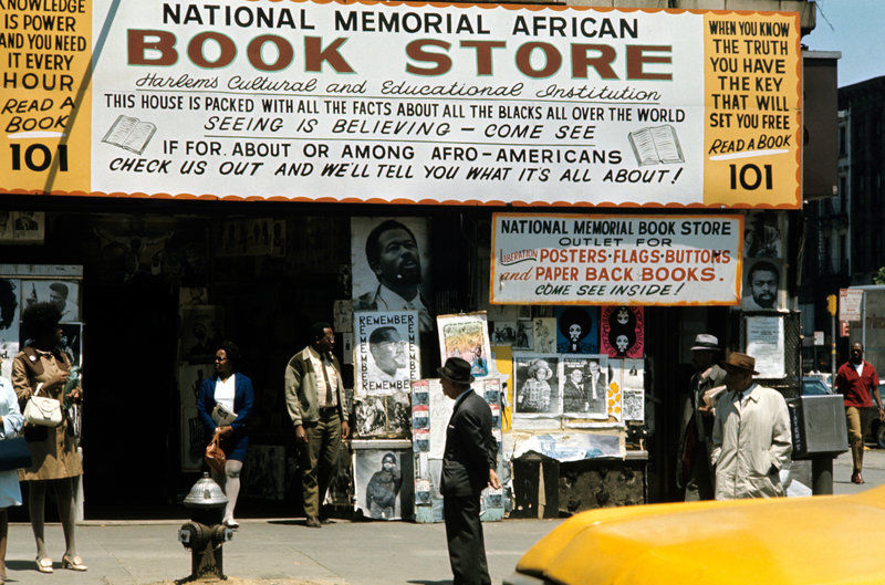 A view of the National Memorial African Bookstore in Harlem circa 1970.