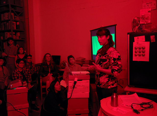 Renee Rhodes delivering her talk 'Visitor Center' at the Prelinger Library.