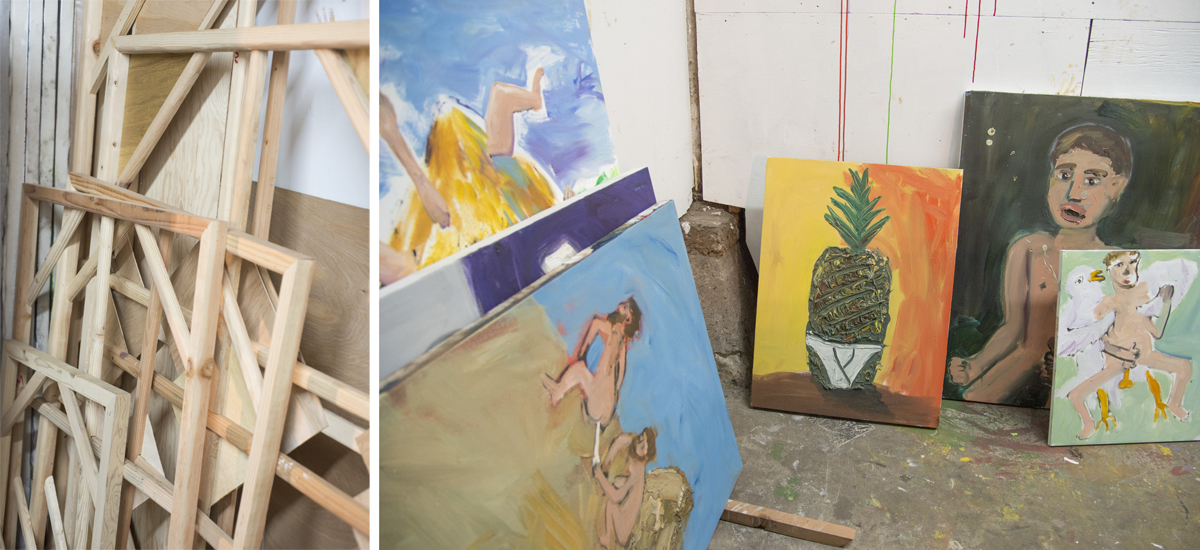 Stretchers and paintings in Boadwee's studio.