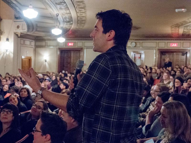 Surprise guest B.J. Novak asks Mindy Kaling a question at the Nourse Theater.