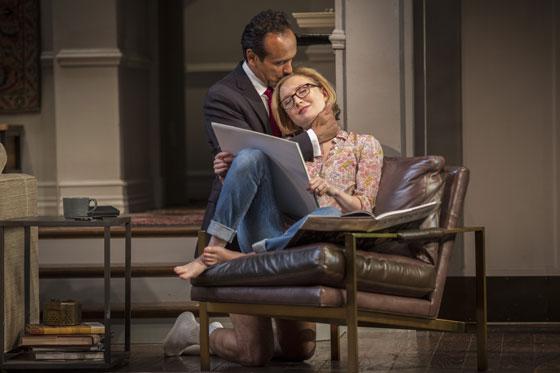 Amir (Bernard White) and Emily (Nisi Sturgis) shared a moment in 'Disgraced.' Photo: Liz Lauren