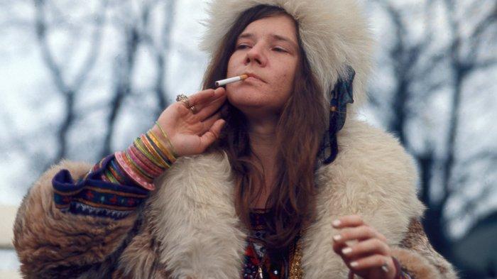 Janis Joplin smoking a cigarette in Denmark.