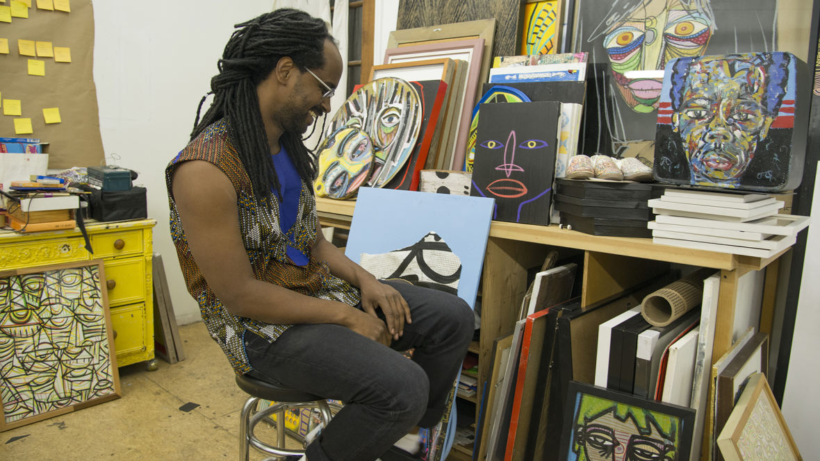 Mahader Tesfai in his Oakland Studio. Photo: Graham Holoch/KQED