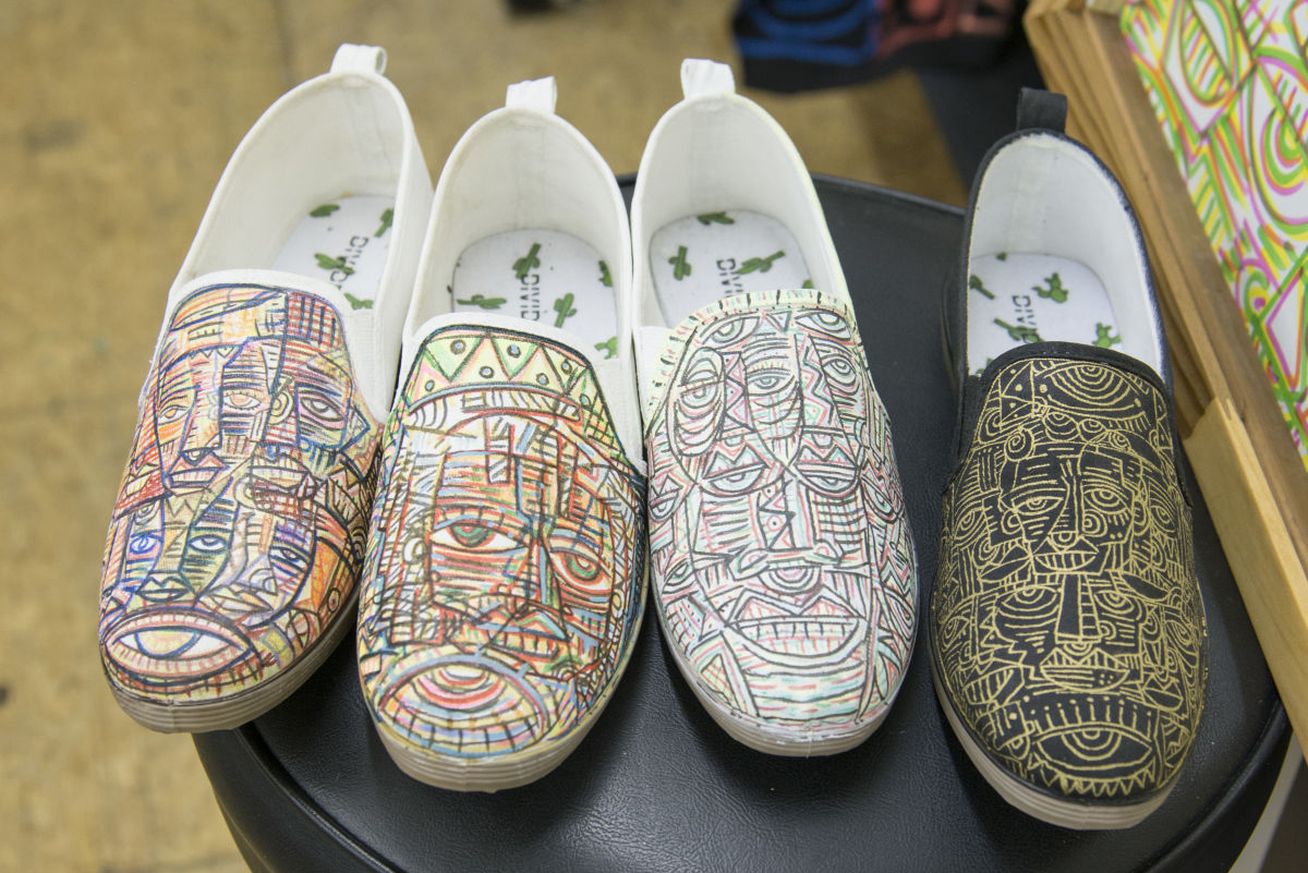 Shoes in Tesfai's studio.