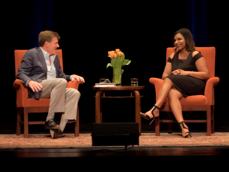 Michael Lewis and Mindy Kaling (L-R) in conversation at City Arts & Lectures.