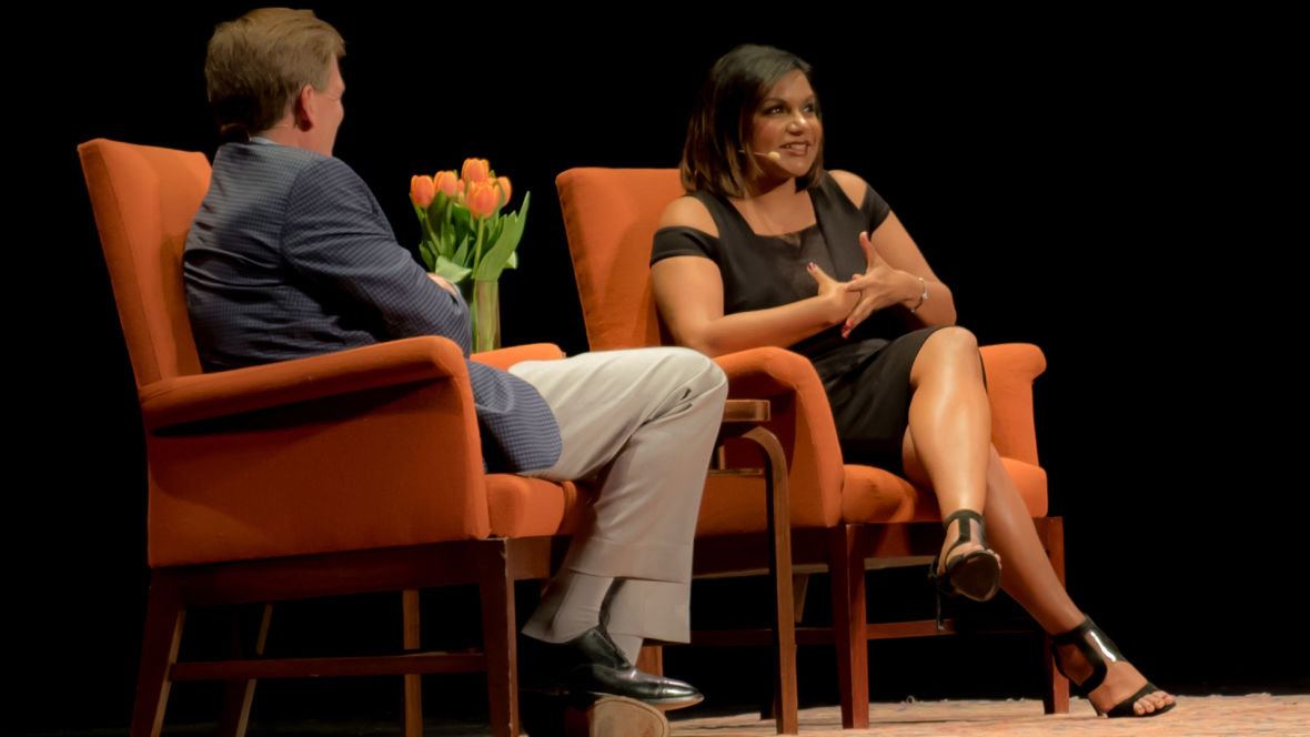Mindy Kaling with Michael Lewis at the Nourse Theater, Nov. 7, 2015. Joanie Barberian