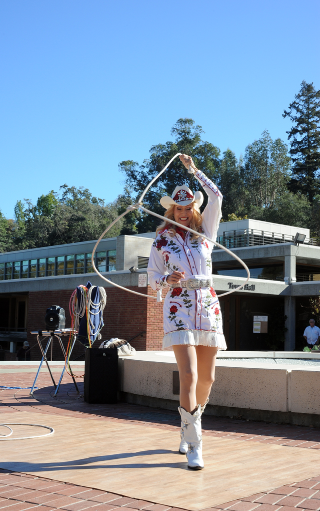 Miss Wild West, Chyrle Bacon, shows off some of the trick roping skills she shared as an entertainer at Frontier Village in San Jose between 1978 and 1980.