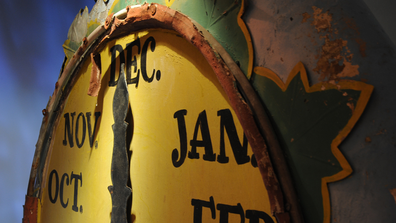 This clock from Santa's Village in Scott's Valley marked the months of the year for children counting down the days to Christmas.