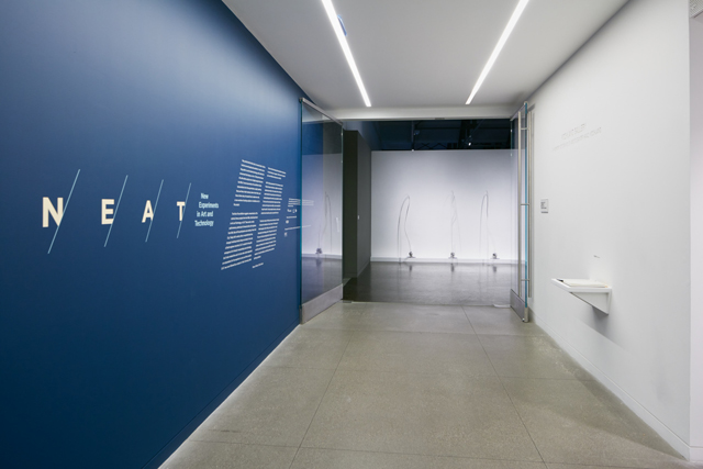 Installation view of 'NEAT' with Paolo Salvagione's 'Rope Fountain.'