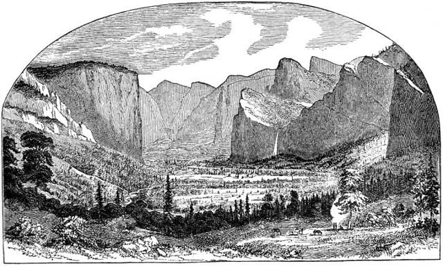 Illustration of Yosemite Valley by Thomas Ayles, as it appeared in the first issue of 'Hutchings' California Magazine,' 1856.