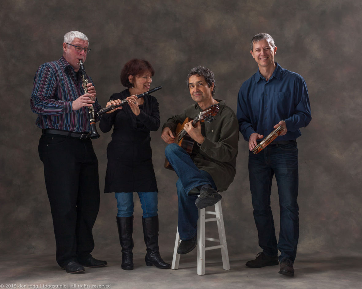 Harvey Weinapel, Jane Lenoir, Ricardo Peixoto, and Brian Rice of Berkeley Choro Ensemble