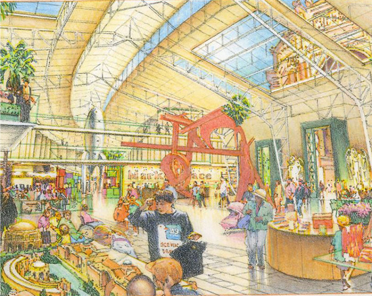 Artist rendering of the shopping area in ECB's proposal for Palace of Fine Arts