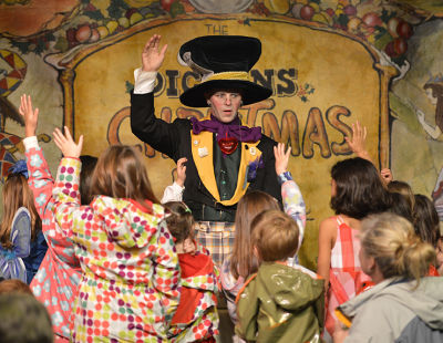 The Mad Hatter's in charge at 'Teatime with Alice & Friends', daiily on the Father Christmas Stage at the Great Dickens Christmas Fair.