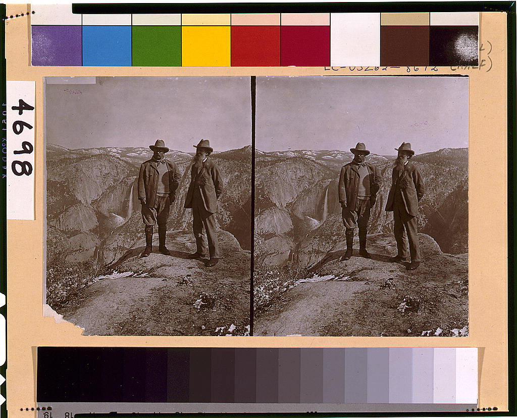 Theodore Roosevelt and John Muir on Glacier Point, Yosemite Valley, California, 1903.