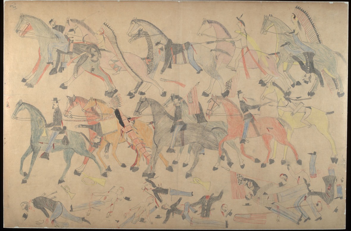 Red Horse (Minneconjou Lakota Sioux, 1822-1907), Untitled from the Red Horse Pictographic Account of the Battle of the Little Bighorn, 1881. Graphite, colored pencil, and ink. NAA MS 2367A, 08569200