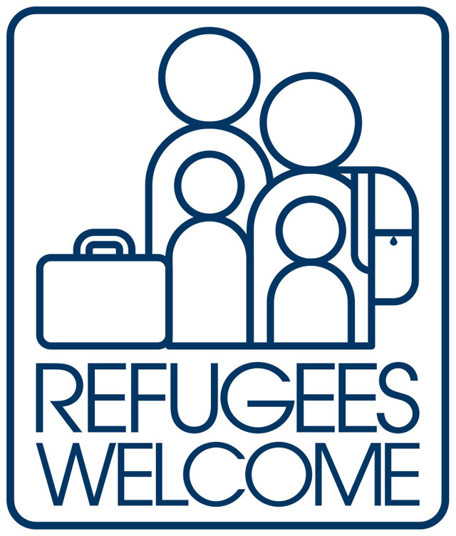 "Design for ""Refugees Welcome Sticker Set."""