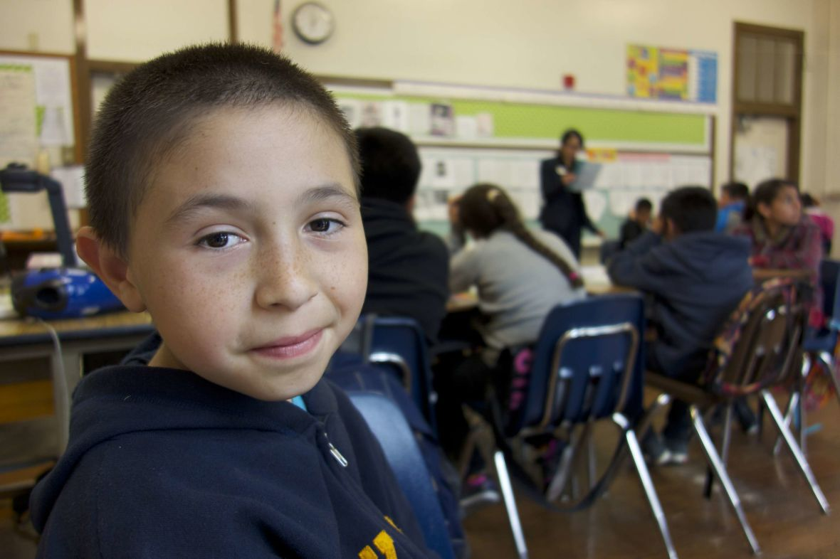 José Anzaldo starts fifth grade at a new school. He went to seven schools during the three years of filming East Of Salinas.</em