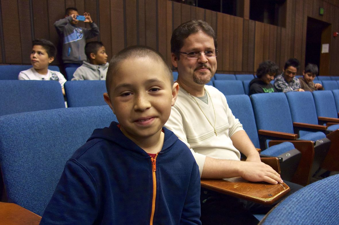 Oscar Ramos (right) took fifth- and sixth-graders, including José Anzaldo (left), to visit the University of California, Berkeley