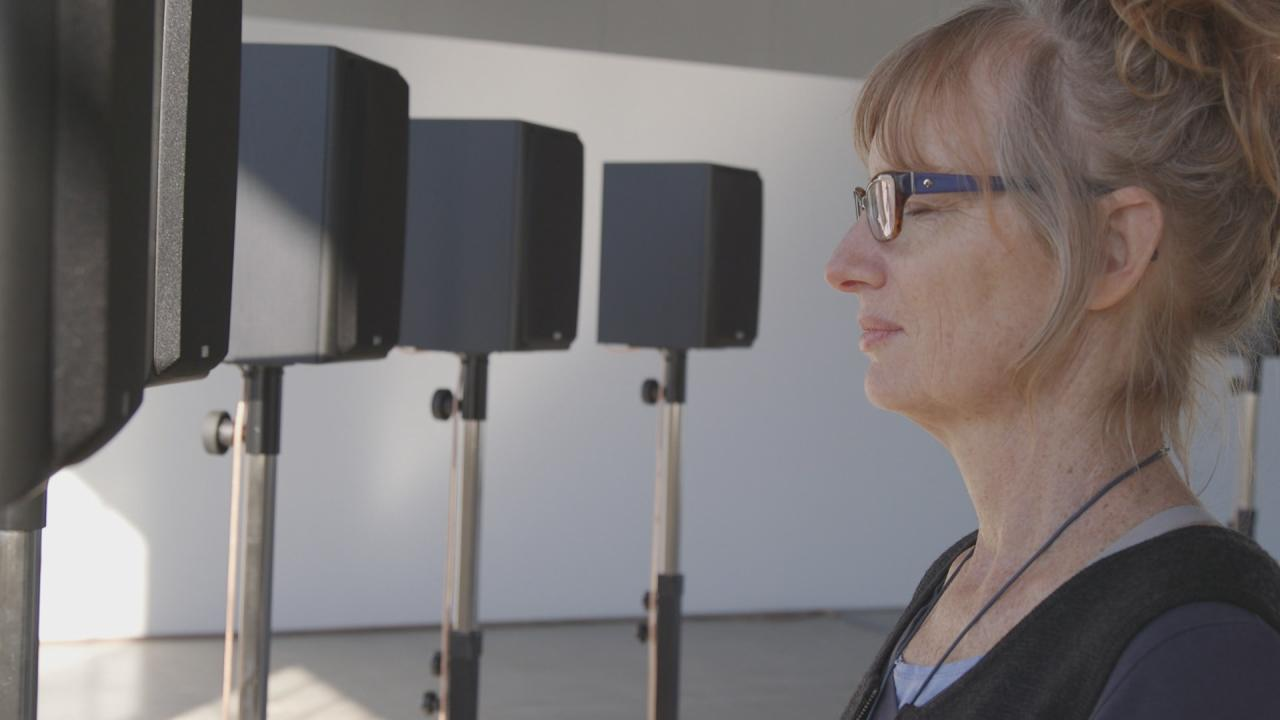 """Janet Cardiff listening to """"The Forty Part Motet"""""""