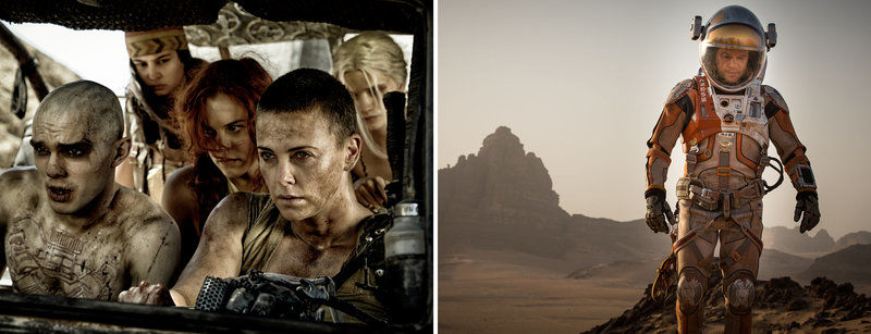 (Left) Nicholas Hoult, Courtney Eaton, Riley Keough and Charlize Theron in 'Mad Max: Fury Road.' (Right) Matt Damon in 'The Martian.'