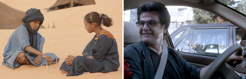 (Left) Mehdi A.G. Mohamed  and Layla Walet Mohamed in 'Timbuktu.' (Right) Director Jafar Panahi in 'Taxi'
