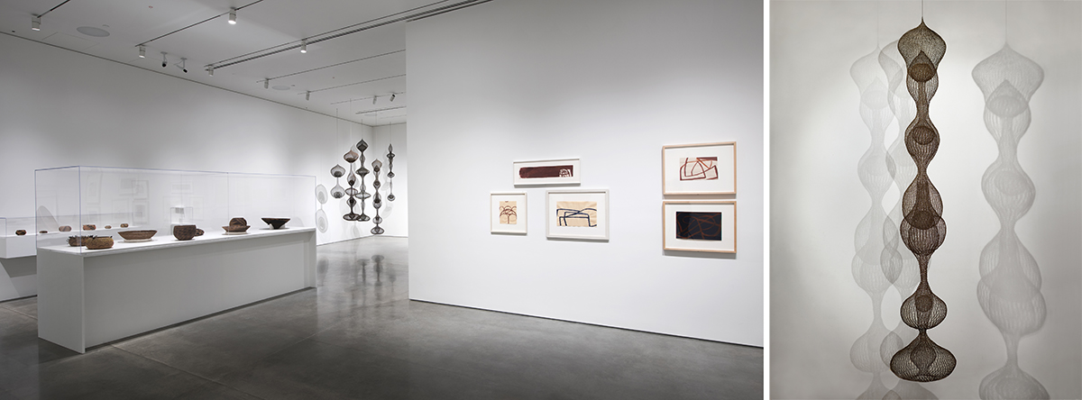 Left: Installation view of 'Architecture of Life' with Pomo baskets, Ruth Asawa sculptures and Suzan Frecon framed works; Right: Ruth Asawa, 'Untitled (S.065),' 1962.