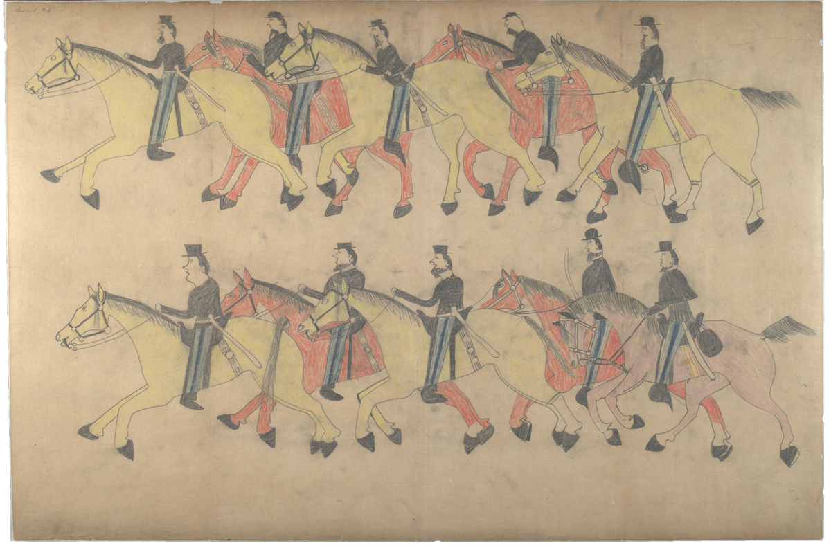 Red Horse (Minneconjou Lakota Sioux, 1822-1907), 'Untitled from the Red Horse Pictographic Account of the Battle of the Little Bighorn,' 1881. Graphite, colored pencil, and ink. NAA 2367A_08568300.