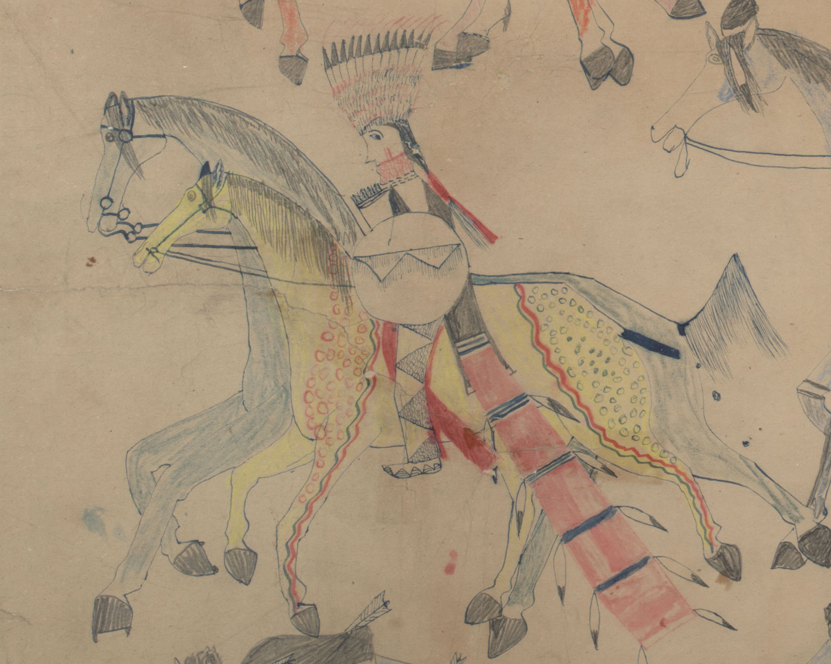 Red Horse (Minneconjou Lakota Sioux, 1822-1907), 'Untitled from the Red Horse Pictographic Account of the Battle of the Little Bighorn (detail),' 1881. Graphite, colored pencil, and ink. NAA MS 2367A, 08570700