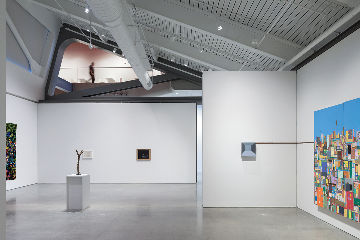 Installation view of 'Architecture of Life,' 2016 with second floor visible.