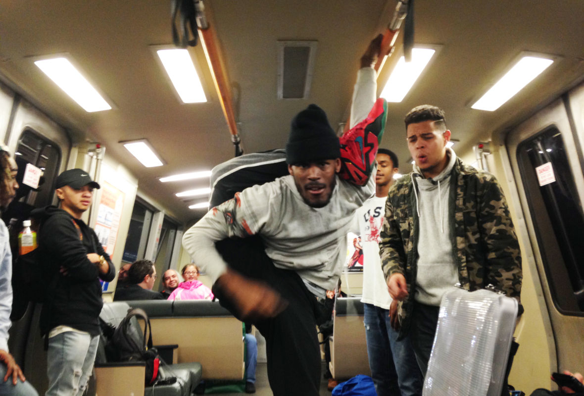 """Krow"" the dancer shows his moves on a BART train"