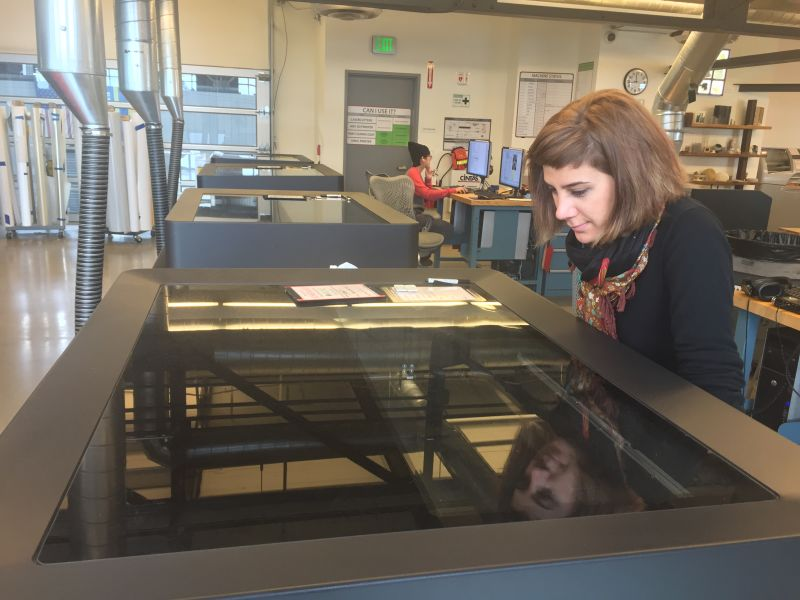 Morehshin Allahyari waits for a print to finish at Autodesk in San Francisco.