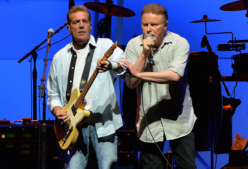 """Glen Frey and Don Henley of the Eagles perform during """"History Of The Eagles Live In Concert"""" at the Bridgestone Arena on October 16, 2013 in Nashville, Tennessee."""