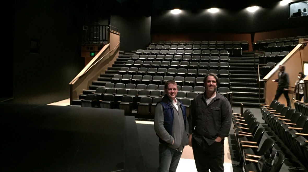 Berkeley Rep's Production Manager Peter Dean and Sound Supervisor James Ballen in the renovated Peet's Theater