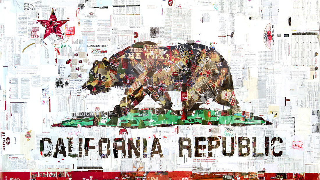 Derek Gores used 49ers maps, magazines, tickets, and programs to make this collage of the California flag.