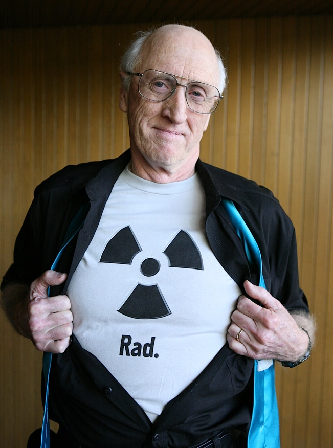Stewart Brand flashing his support for nuclear power at a TED talk, 2010.