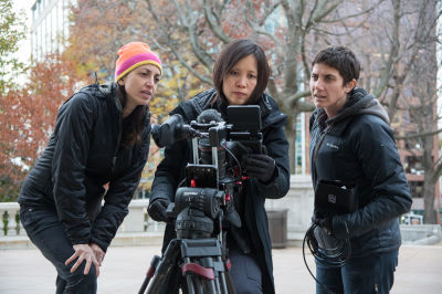 Filmmakers Laura Ricciardi (left) and Moira Demos (right) work alongside Iris Ng on the set of 'Making a Murderer.'