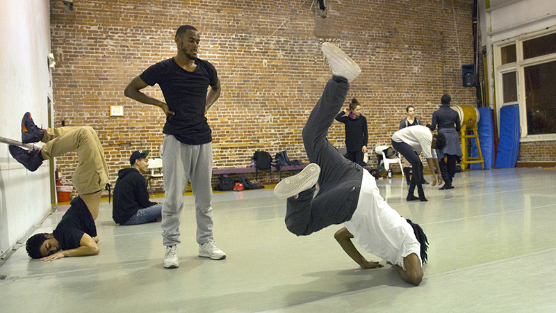 Turf dancers in rehearsal for the upcoming D.I.R.T. Festival