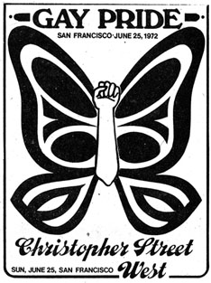 Poster for the June 25, 1972 Gay Pride Parade in San Francisco.