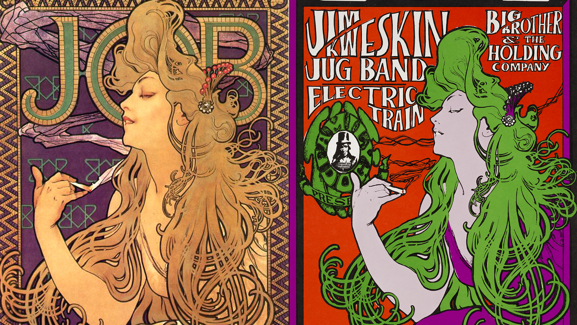 "Left: Poster for ""JOB"" cigarette paper (1896), one of Alphonse Mucha's best-known advertisements; Right: Big Brother and the Holding Company Poster by Stanley Mouse and Alton Kelley (1966)"
