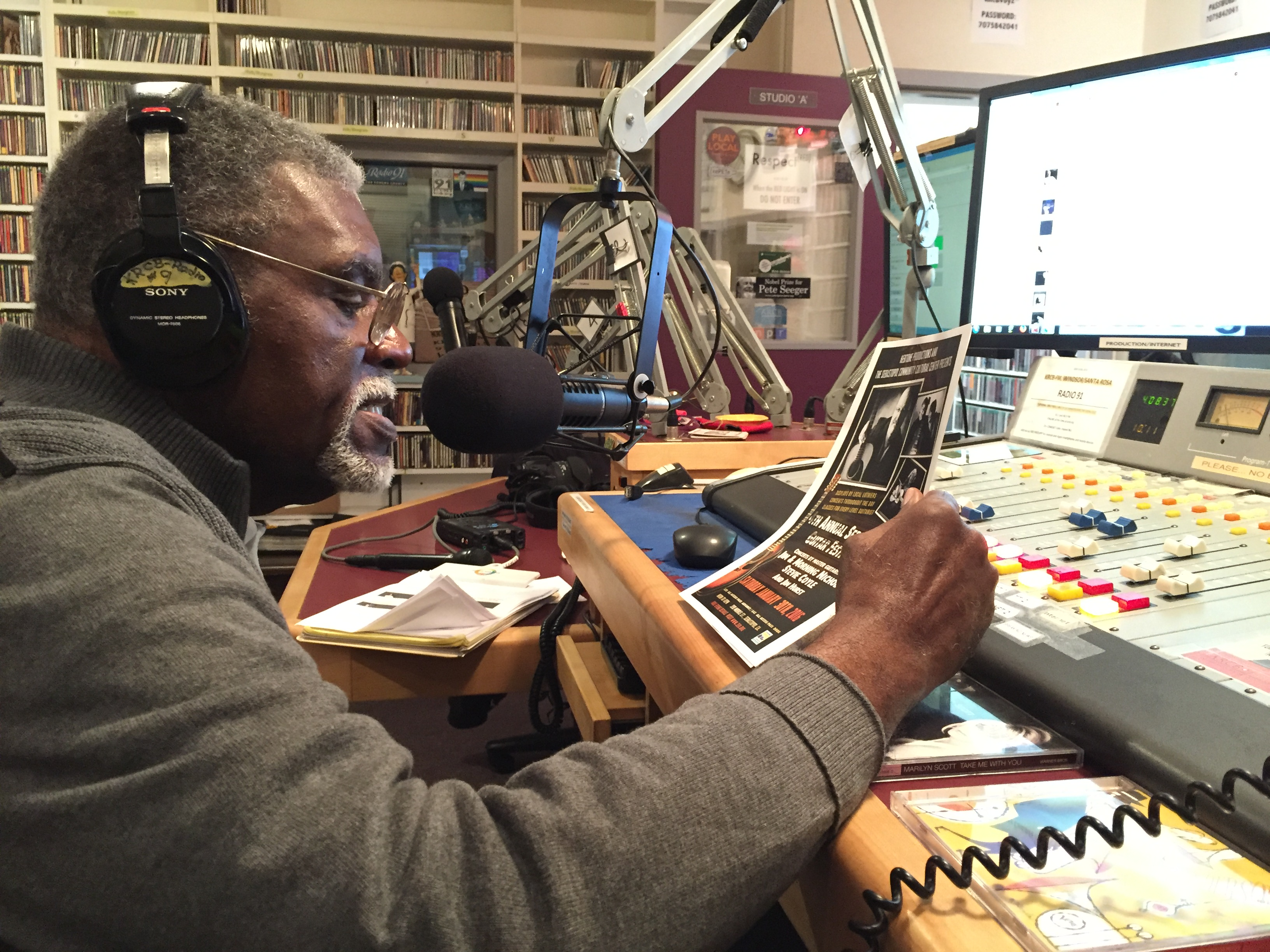 Former Black Panther Elbert 'Big Man' Howard hosts 'Jazz Connections' on KRCB-FM in Rohnert Park.