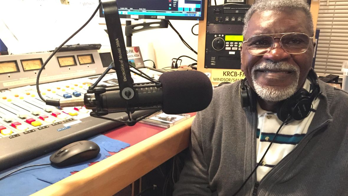 Former Black Panther Elbert 'Big Man' Howard hosting 'Jazz Connections' on KRCB-FM in Rohnert Park in 2016. Gabe Meline/KQED