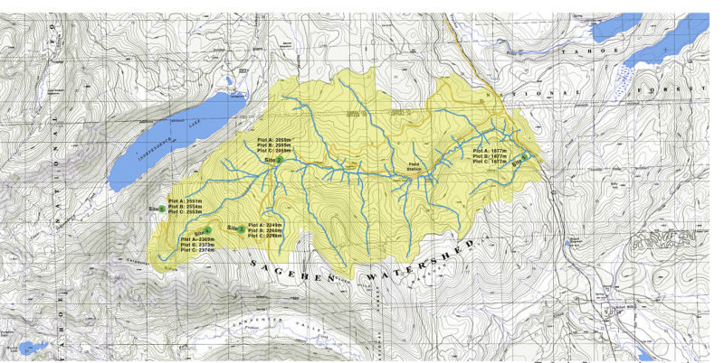 """One of the Harrisons many eye-catching maps: """"The Sagehen ecosystem and experimental sites"""""""