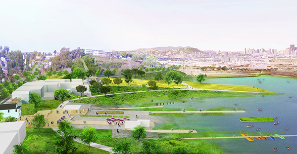 Aerial view of GGN's proposal for India Basin Park