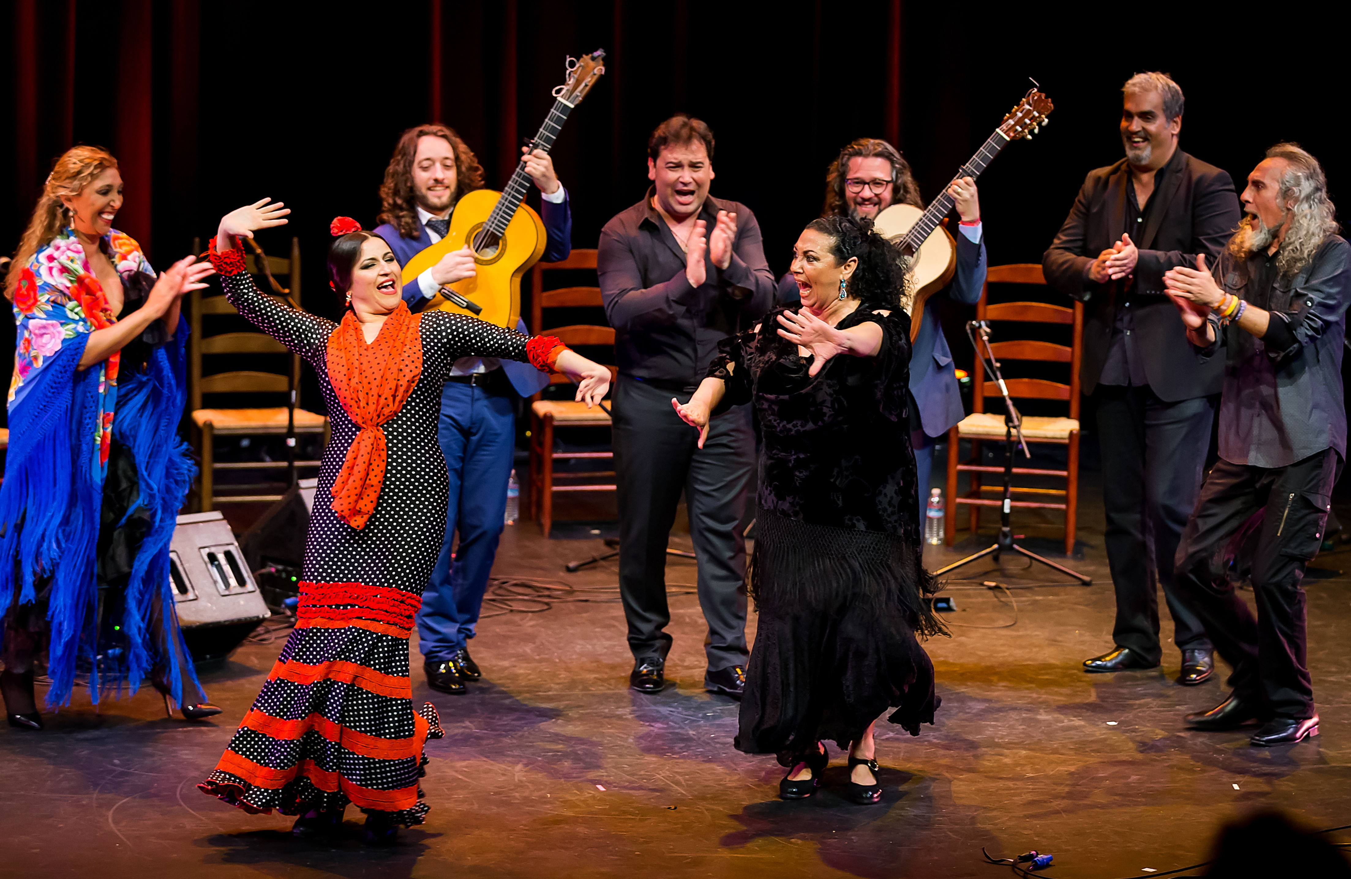 Gema Moneo (red scarf) on stage at the Bay Area Flamenco Festival 2015.