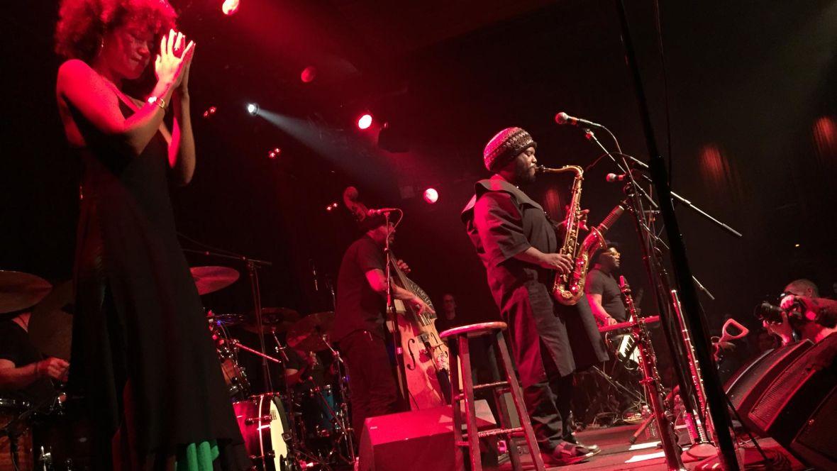 Kamasi Washington and his band at the Independent, Feb. 25, 2016. Gabe Meline