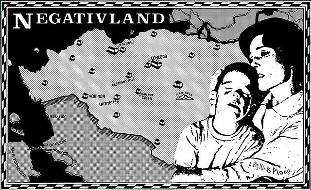 Negativland, Poster Map from 'A Big 10-8 Place,' 1983.